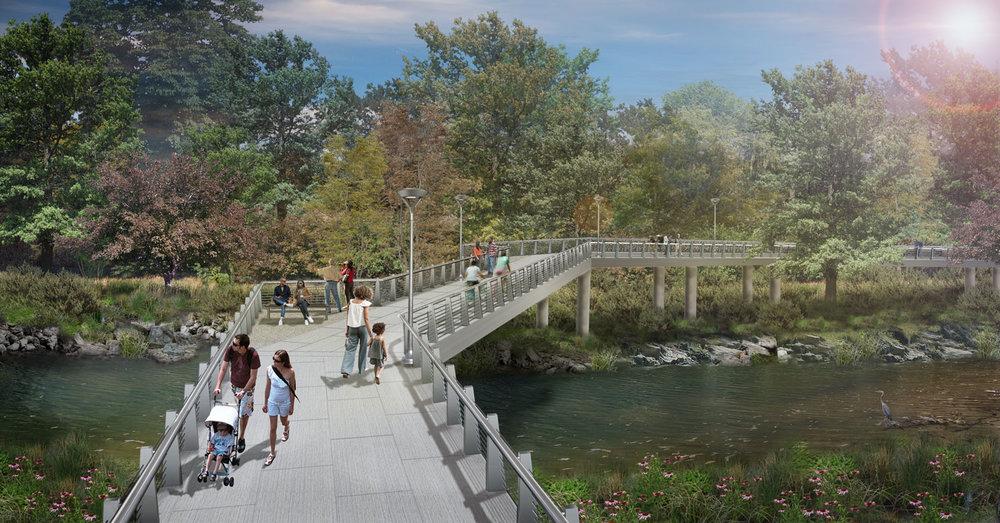 Rendering of the new bridge over Peachtree Creek