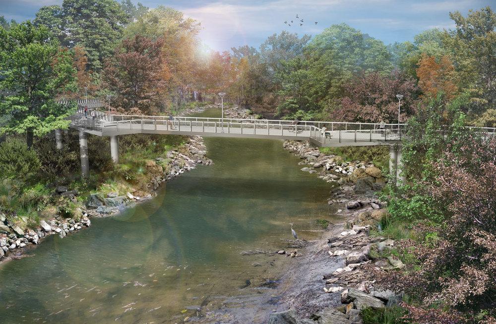 Rendering of new bridge over Peachtree Creek