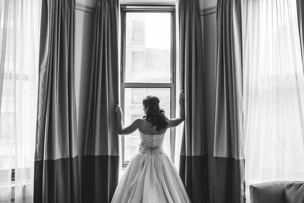 bride on wedding day at arcade cleveland ohio