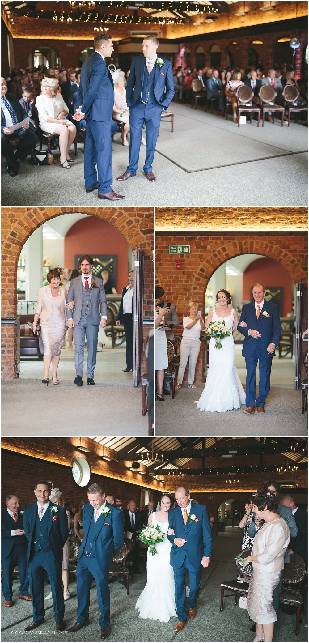 Sammi and Matt chose the hunting lodge for their ceremony and reception. I love the twinkle light wrapped beams. Sammi's brother walked her Mum down the aisle before Sammi entered looking radiant on her father's arm.