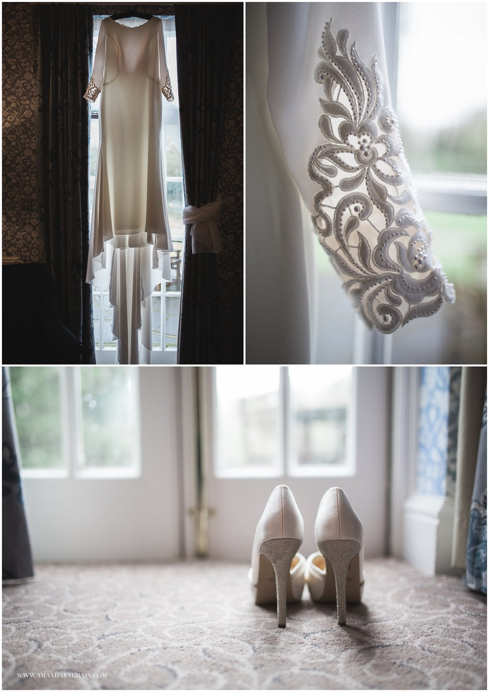 Cathy's beautiful La Sposa wedding dress and Rainbow shoes at  Mottram Hall