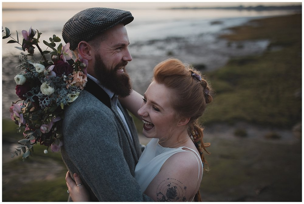 Wedding photography prices in Cheshire, Liverpool, Northwest and UK. Couple pictured at a winter sunset shoot in Liverpool.