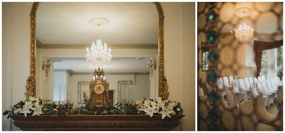 Ceremony room details for an Auchen castle wedding