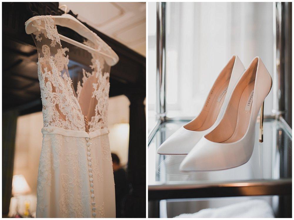 A Pronovias dress and Casadei shoes for Scottish castle wedding.