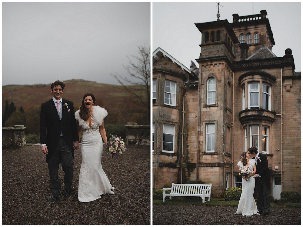 Bride and groom portraits at Auchen castle in Scotland