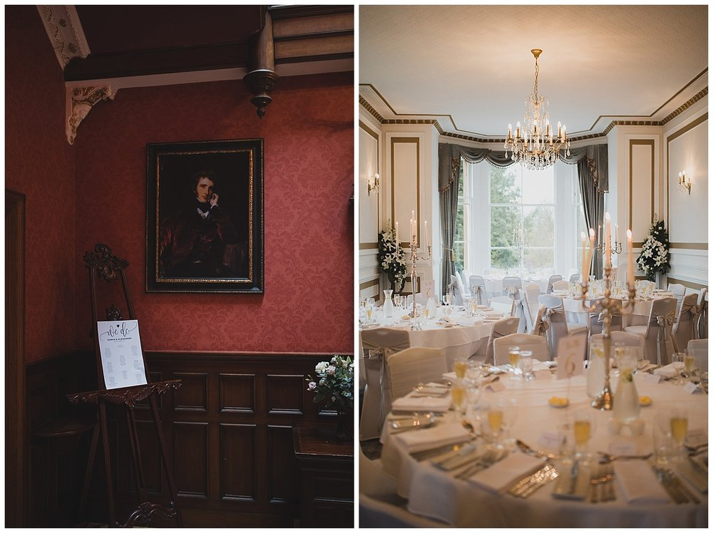 The reception room at Auchen castle Scotland for an October wedding.