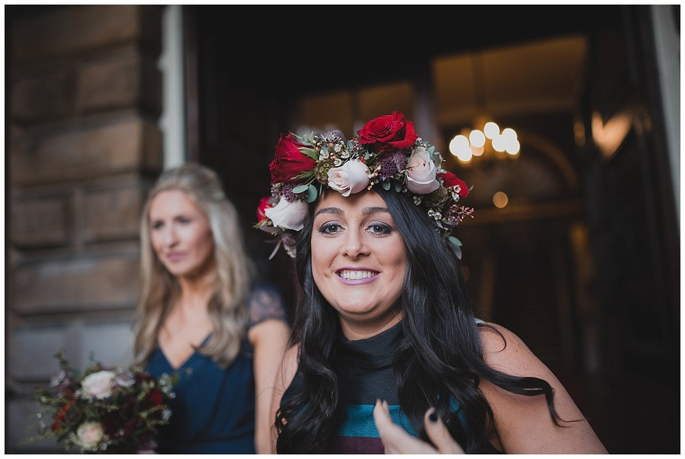 An amazing flower crown for Jen's maid of honour at Liverpool Town Hall.