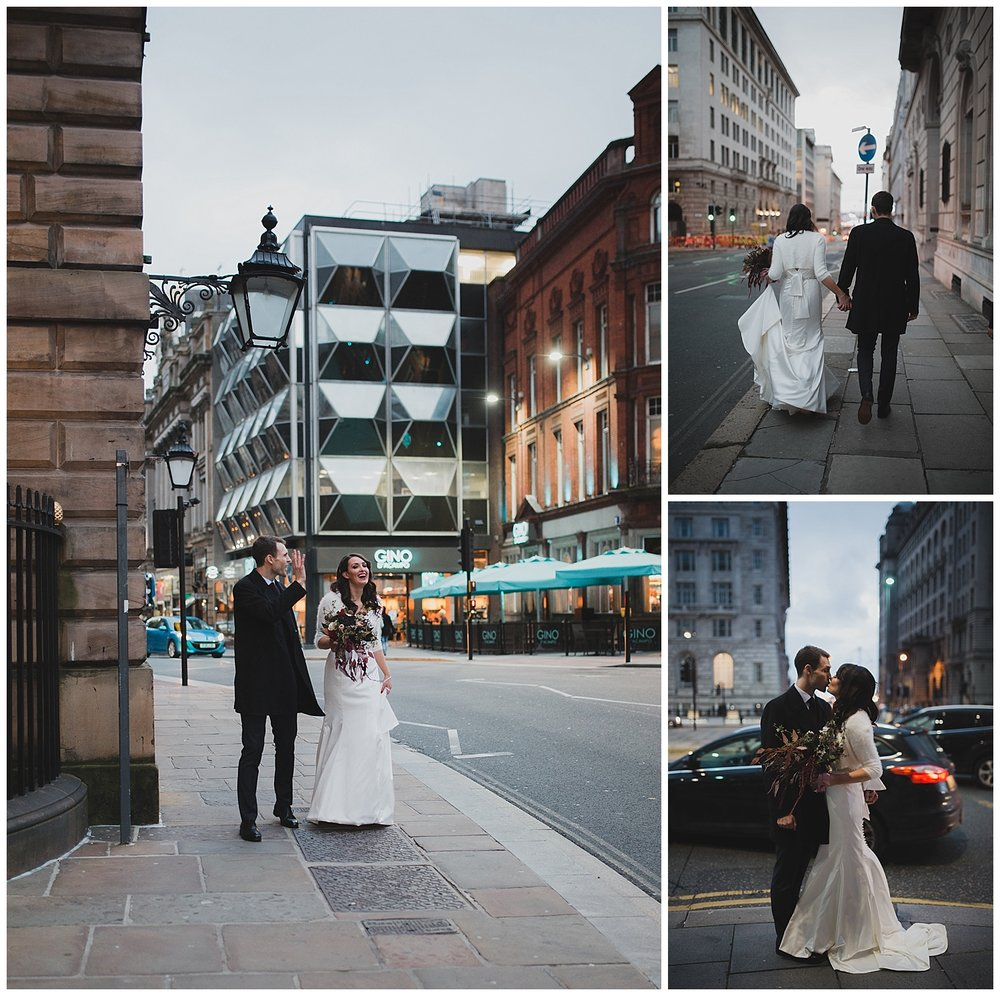 Jen and Sam walking from Liverpool Town Hall to Oh Me Oh My for their reception.