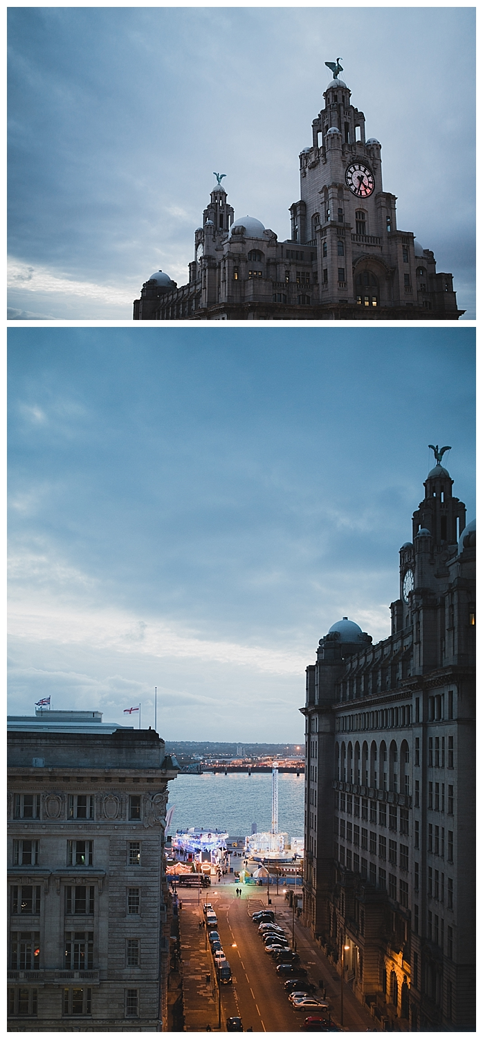 The Liver building and docks at dusk.