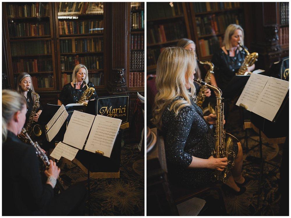 Marici Saxe quartet at a Crewe Hall wedding.