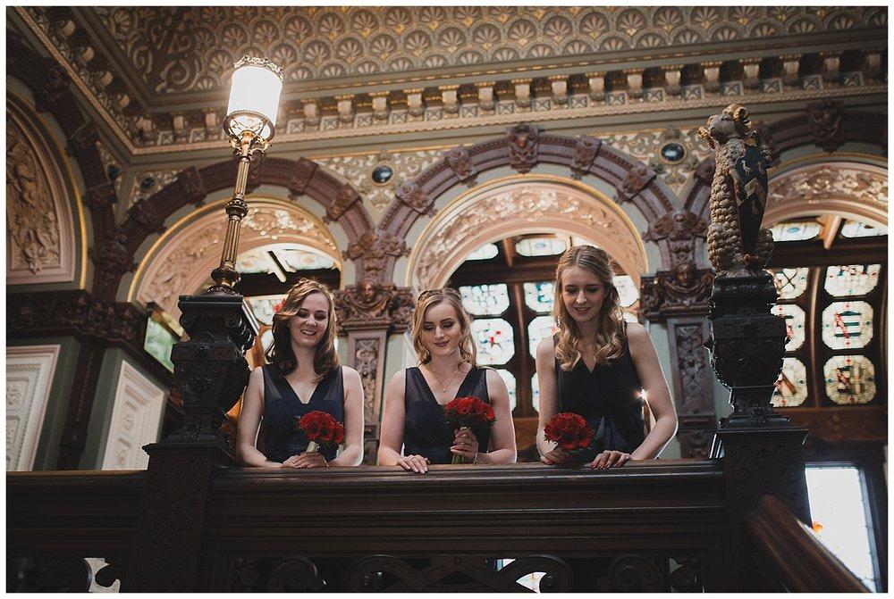Bridesmaids at a Crewe Hall wedding.