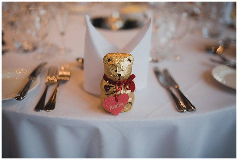 Lindt chocolate bears as wedding favours for a Valentine themed wedding.