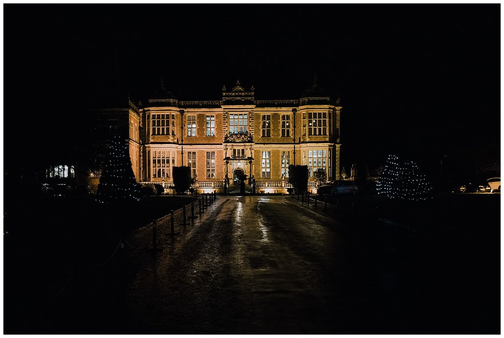 Crewe Hall at night.