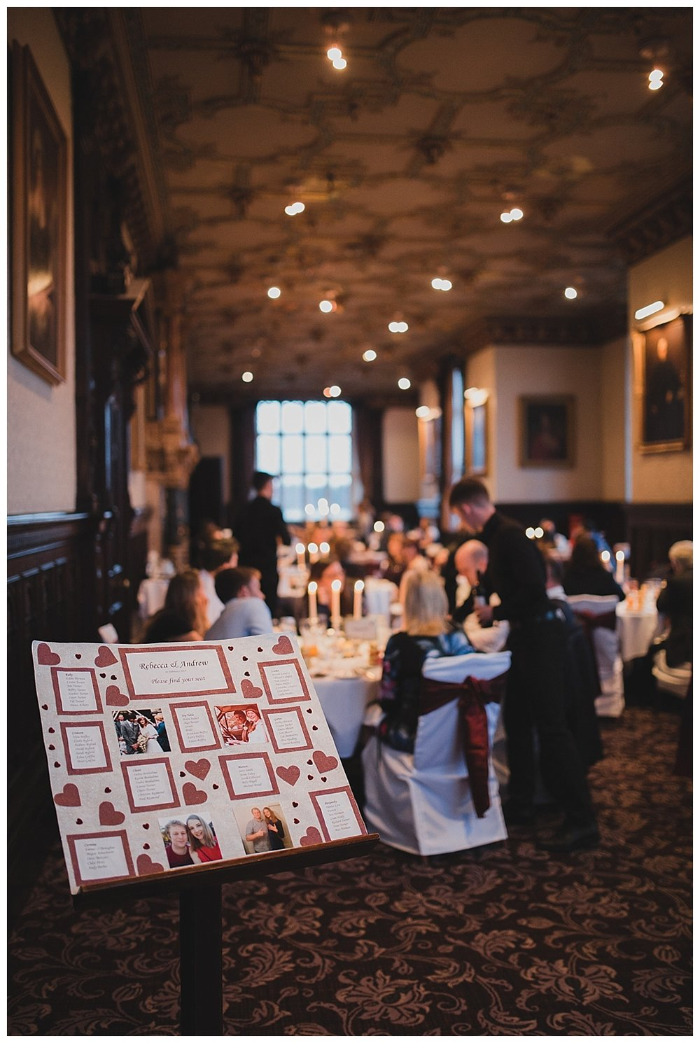 A Valentine themed reception at Crewe Hall
