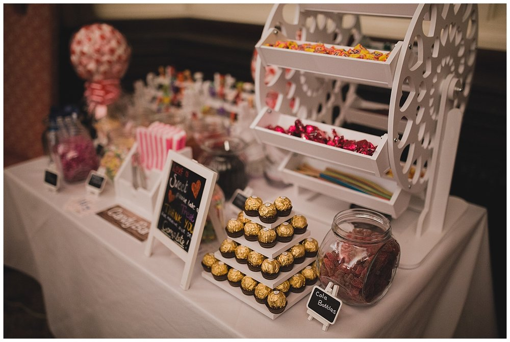 Sweet table at a Valentine themed wedding.