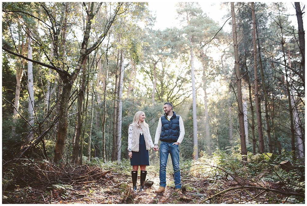 What to wear for and engagement shoot in the woods - textures.