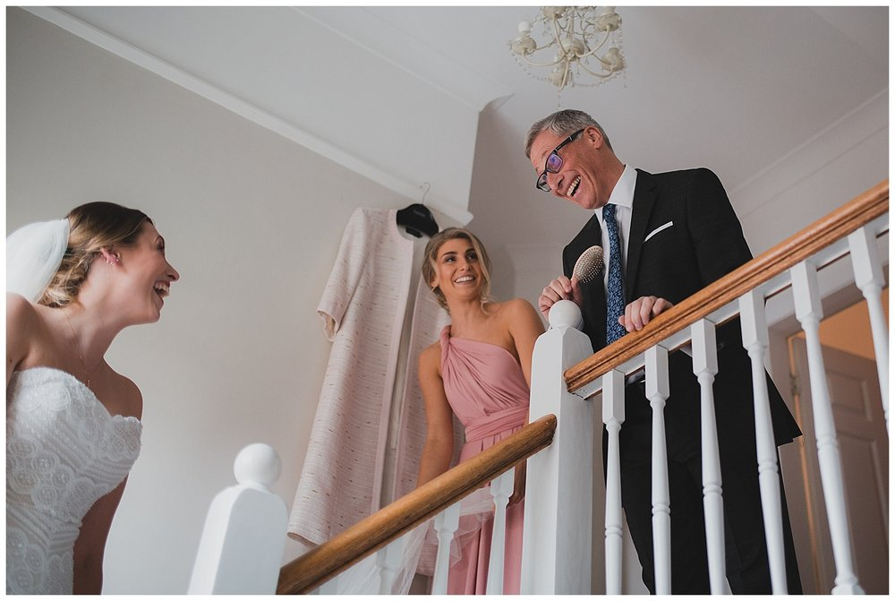 Father sees bride for the first time - Cheshire wedding photography