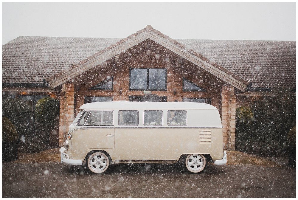 Snow at Styal Lodge winter wedding