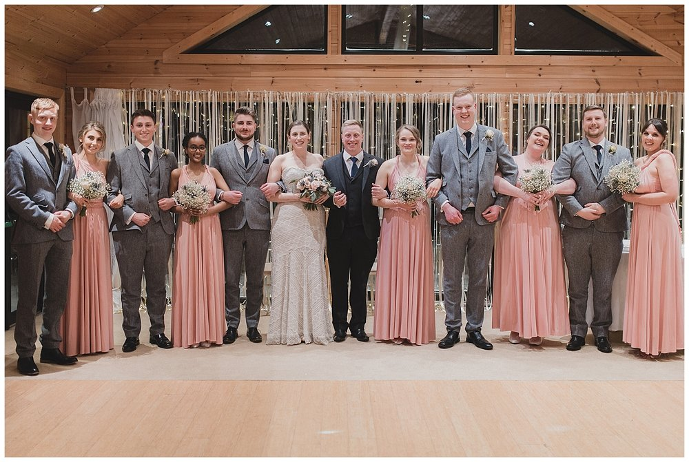 Bridal party for a winter wedding at Styal Lodge in Cheshire