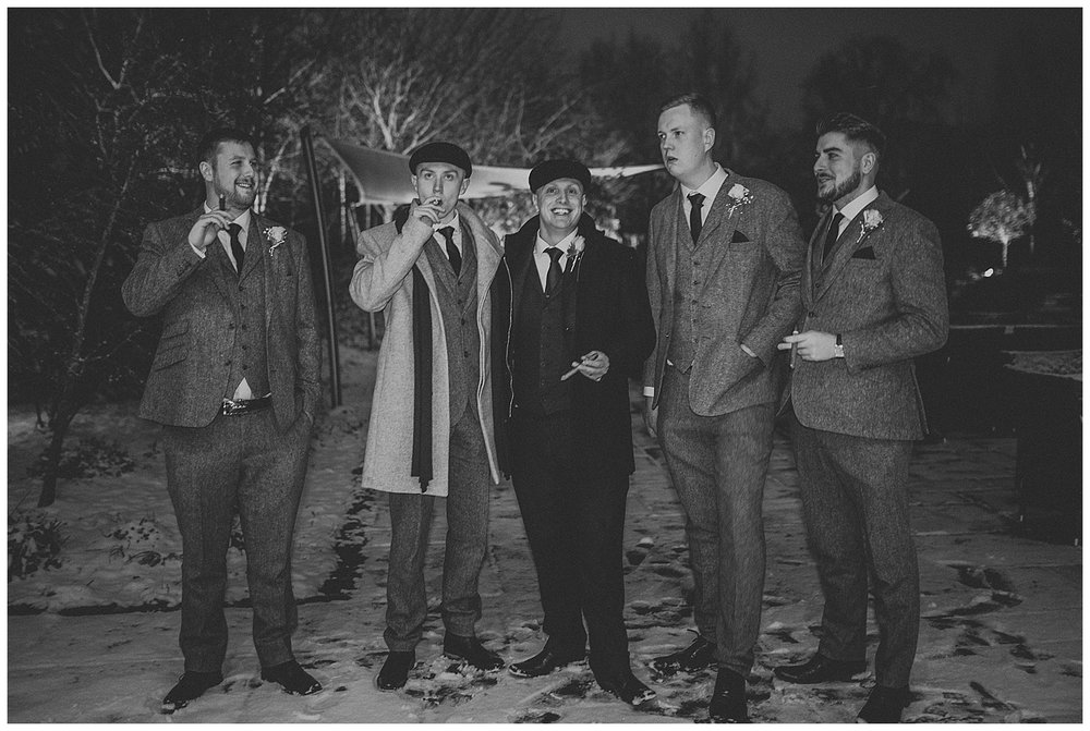 Peaky blinders groomsmen at Styal Lodge