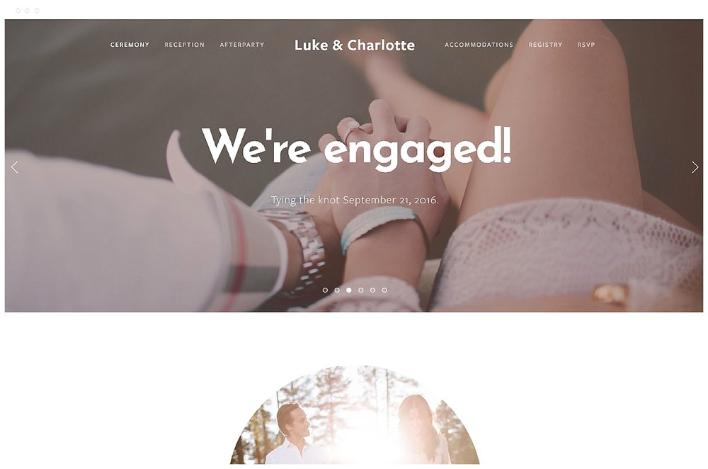 Wedding website by Squarespace.