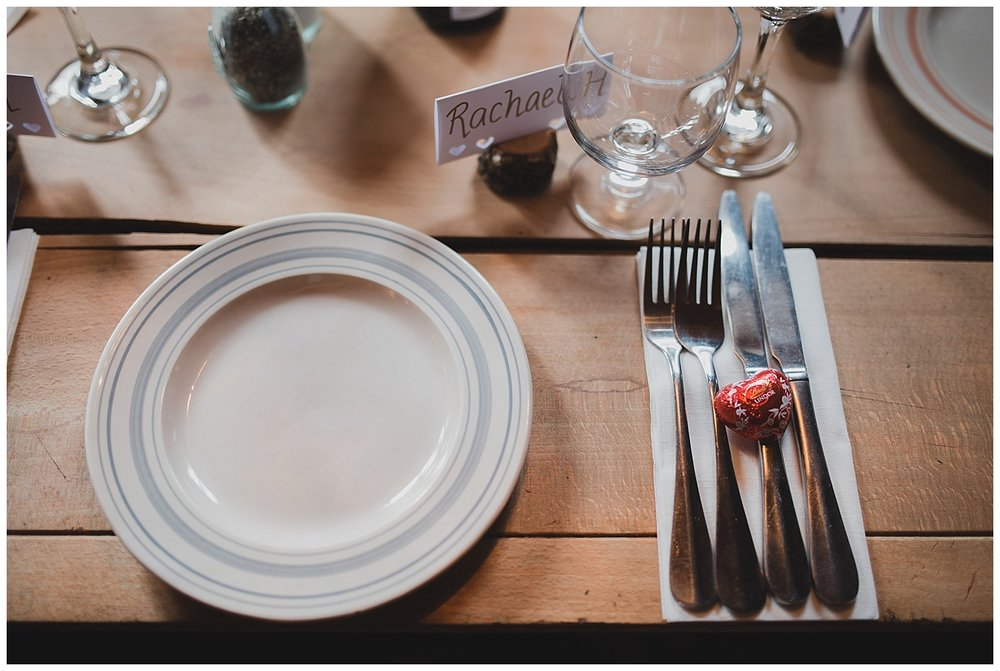 Place setting for a simple pub wedding.