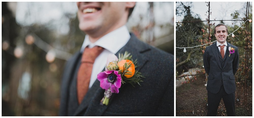 Bright spring buttonhole for a Cheshire wedding.