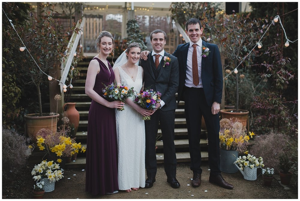 Bridal party at a Cheshire garden wedding.