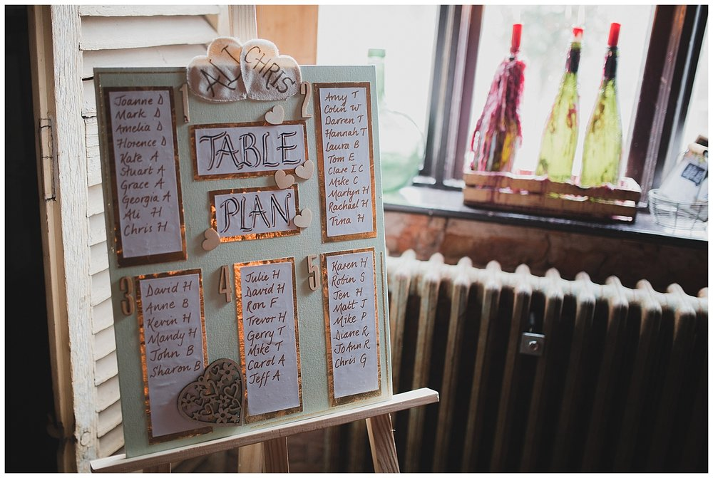 Handmade table plan for a DIY Cheshire wedding.