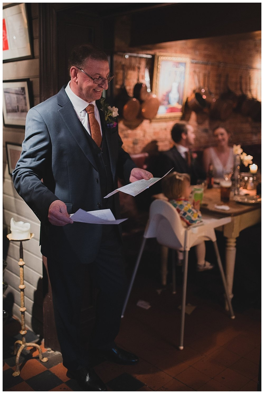 Speeches at a Cheshire Inn wedding.