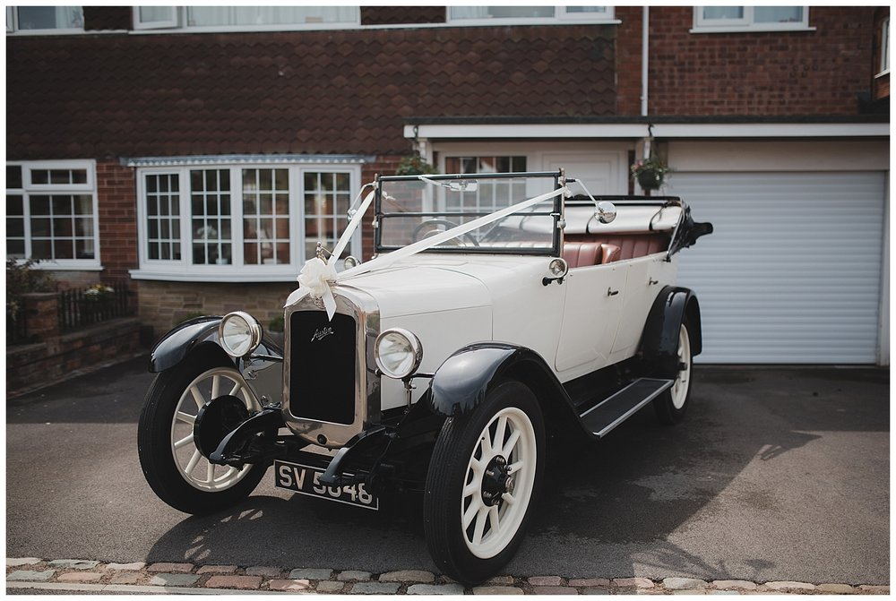 Vintage car for this Endon, Stoke wedding.