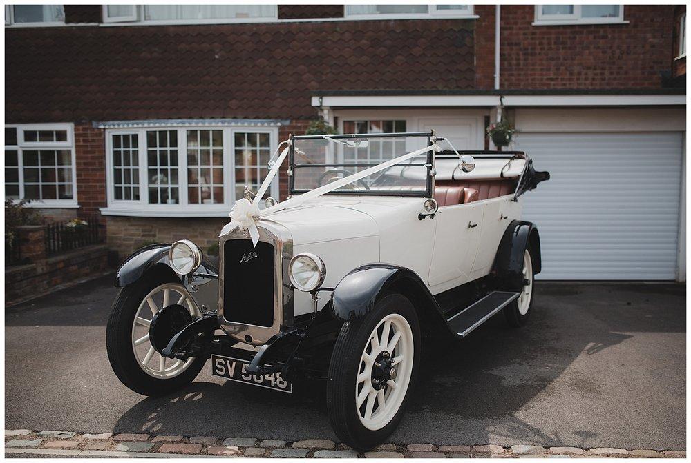 Vintage car for this Endon, Stoke wedding.
