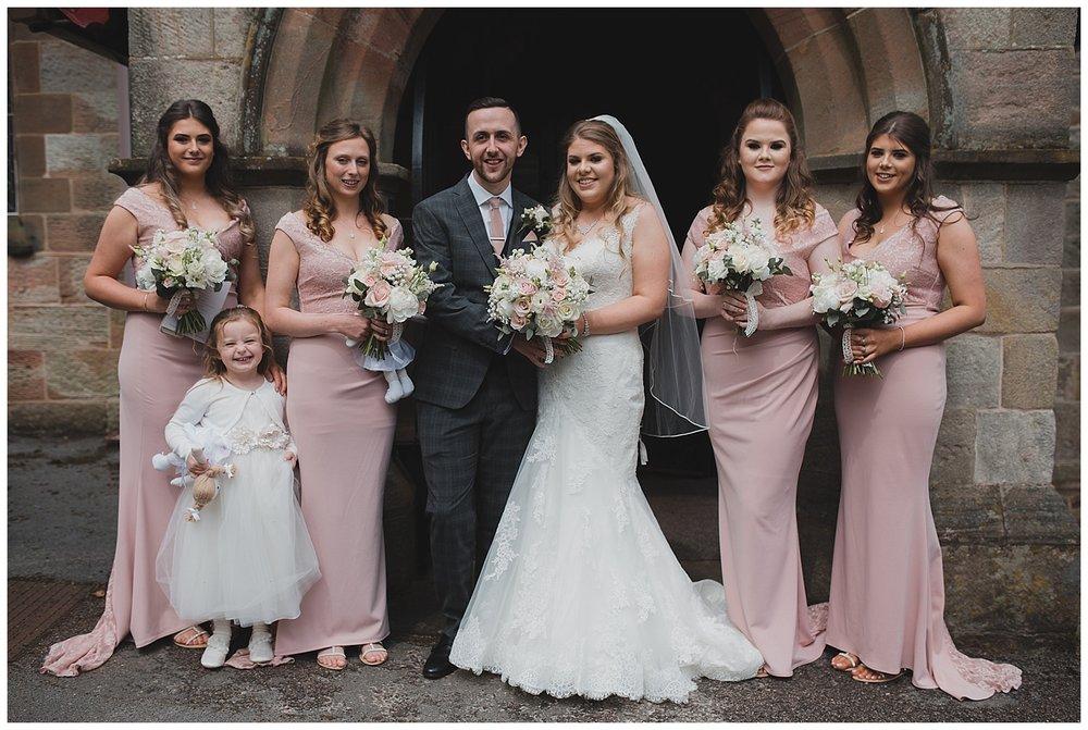 Bridesmaids at St. Luke's church Endon.