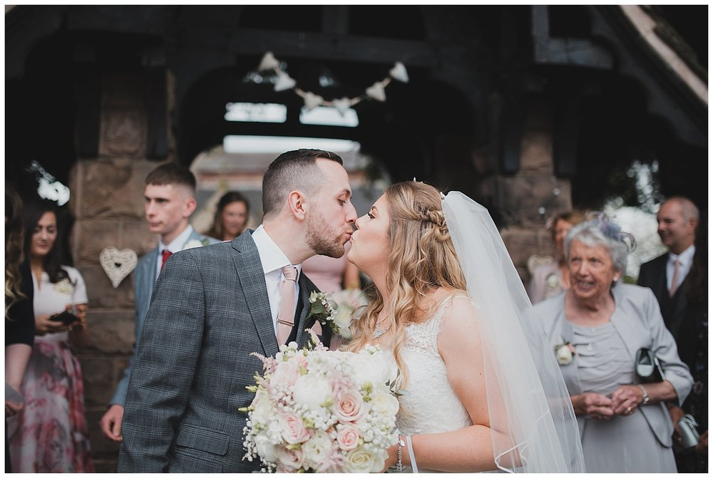 Bride and groom at St. Luke's Endon.
