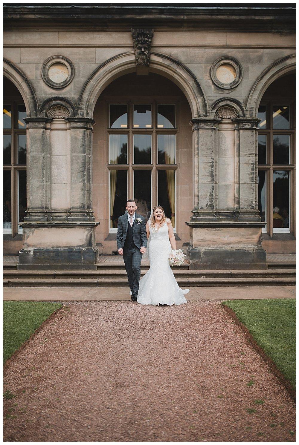 Bride and groom at Keele Hall.
