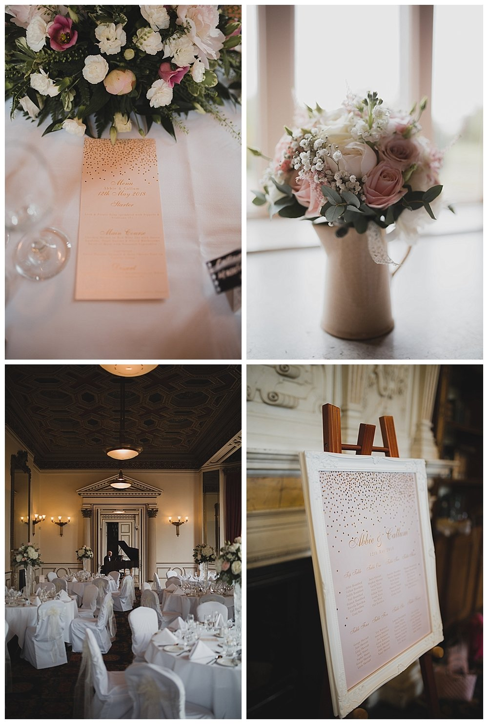 Reception details at this Keele Hall wedding.