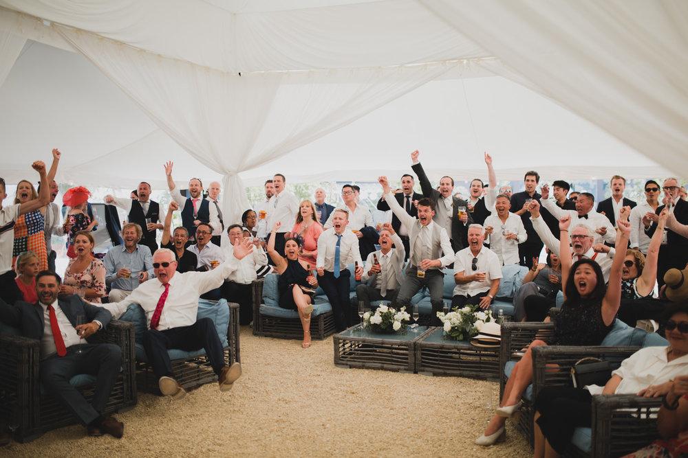 football viewing at axnoller wedding