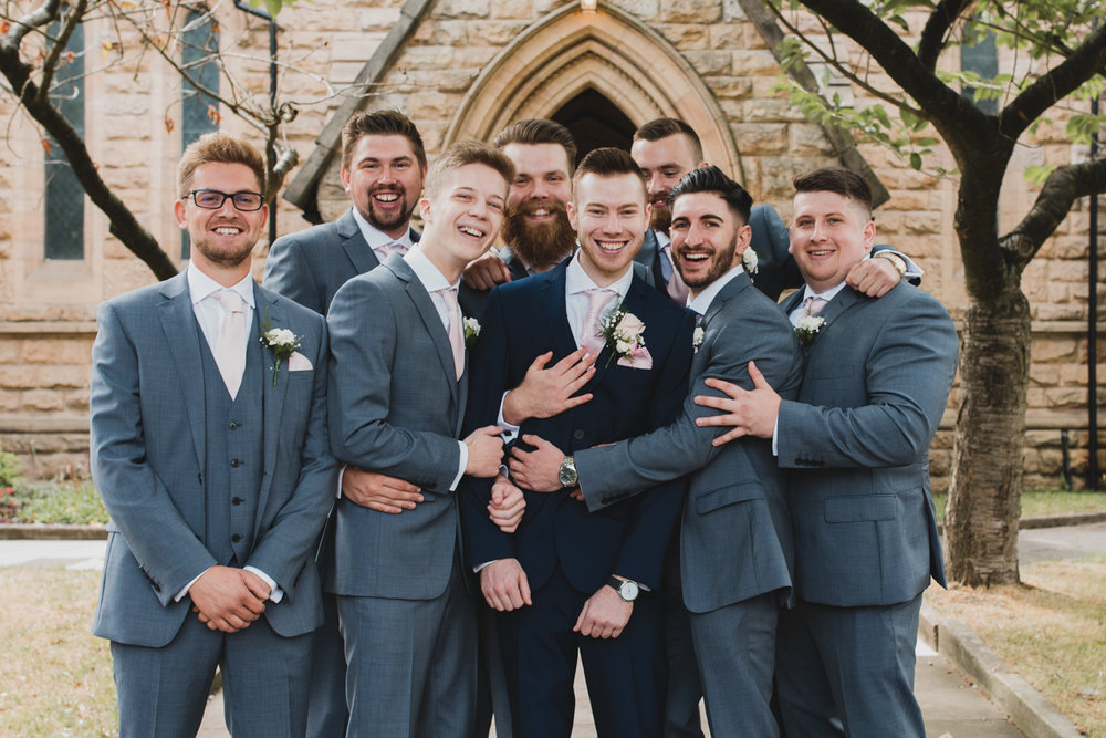 Groomsmen at Elworth Church in Cheshire