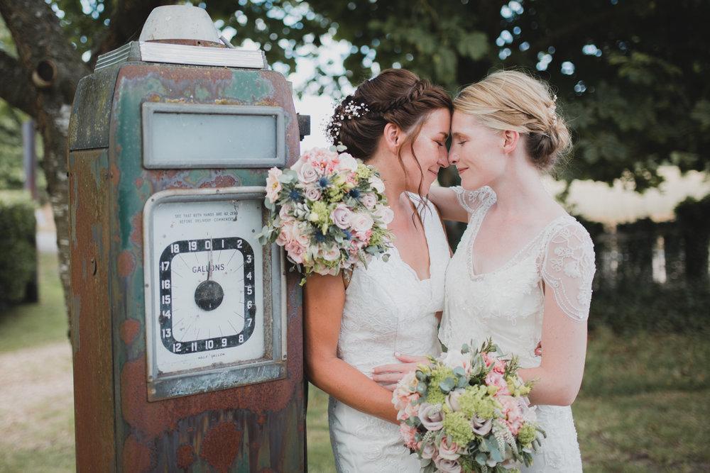 Two brides at Warborne Farm, Hampshire.