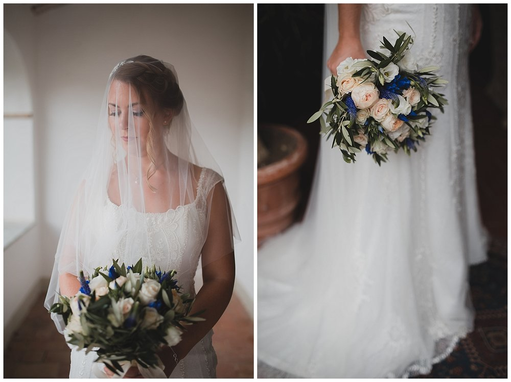 A cathedral veil for a destination wedding in Italy
