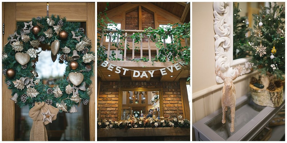 Christmas decorations at a winter wedding. A wonderful winter wedding at the Oaktree of Peover in Cheshire.