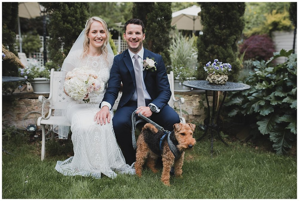 Bob the Welsh terrier at a Yellow Broom wedding in Cheshire