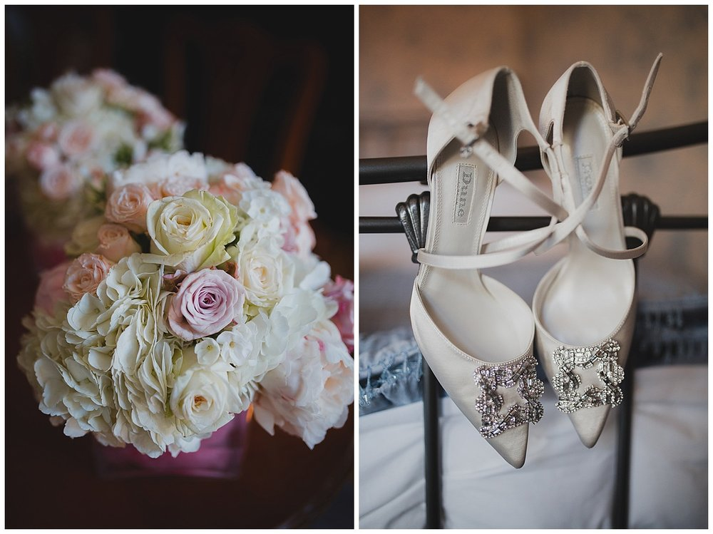Dune sandals and pastel roses with hydrangea for a Cheshire wedding.