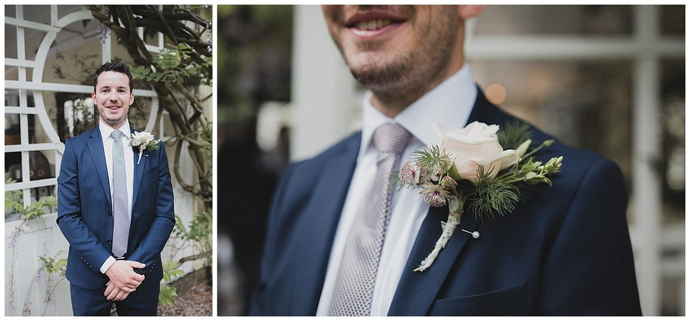 Gorgeous buttonhole by Nova Christy flowers for this Yellow Broom wedding.