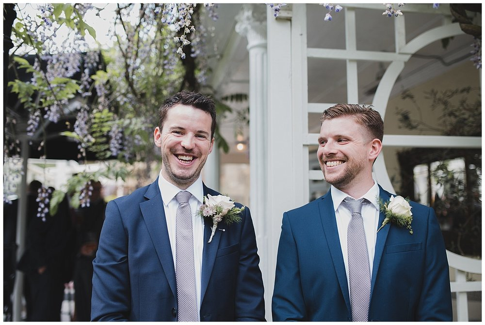 Some nervous laughter as Toby waits for his bride at the Yellow Broom restaurant in Cheshire.