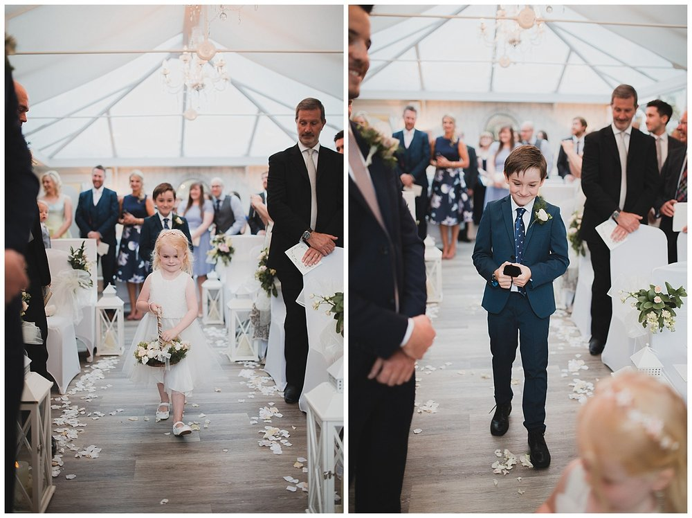 Page boy and flower girl at this stylish Yellow Broom wedding in Cheshire.