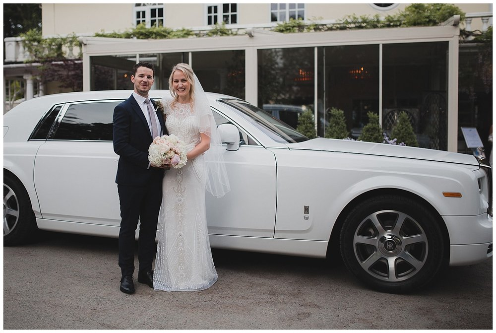 A white Rolls Royce for this Cheshire bride and groom.