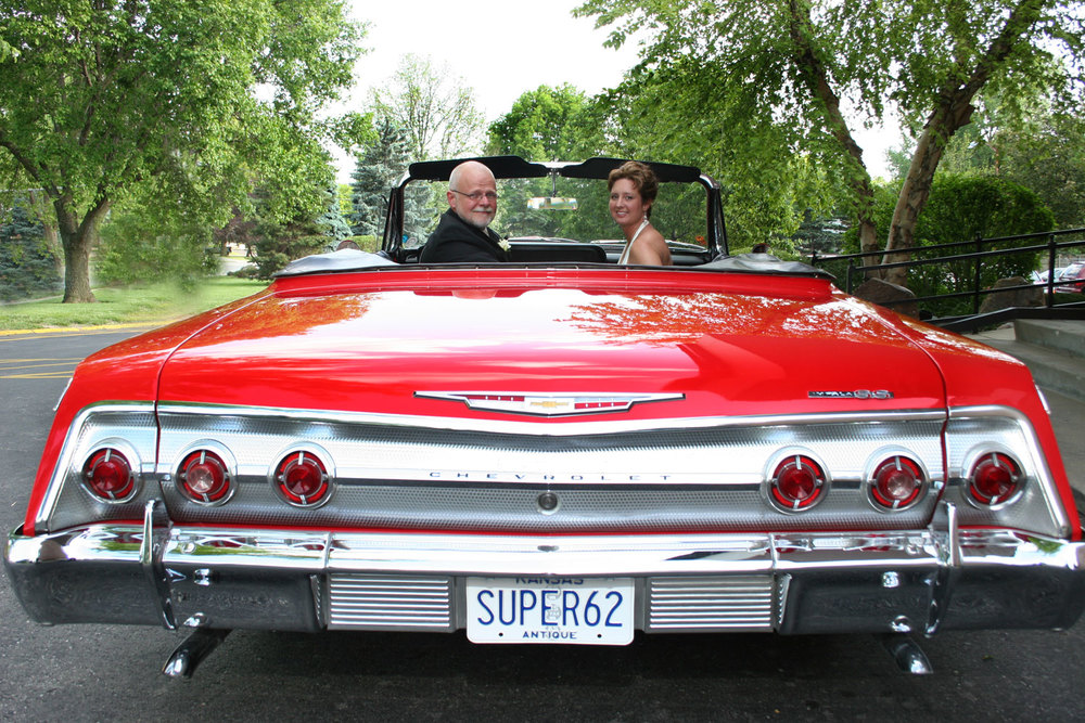 Classic Car with Wedding Couple