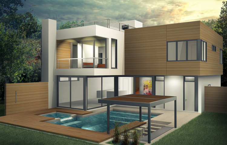 Yale Residence Back Exterior Rendering MWA