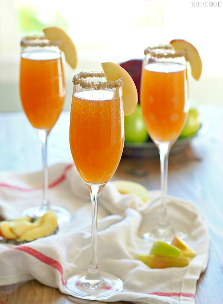 Image via  The Cookie Rookie    A two ingredient cocktail? Sign us up! The  Apple Cider Mimosa  is exactly what you expect: Champagne and apple cider. A fun and easy way to add a little fall into your midday brunch or girl's night, this bubbly beverage is simplicity done right.